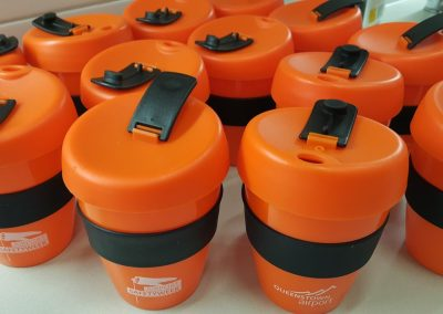 Queenstown Airport and Safety Week branded 'keep-cups' filled with herbal tea
